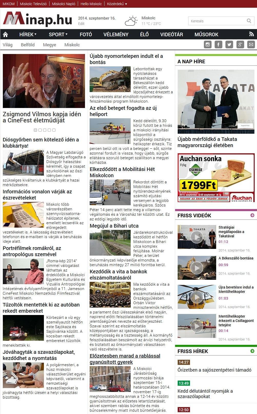 Minap regional news portal